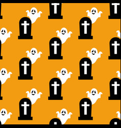 Headstone and ghost pattern vector