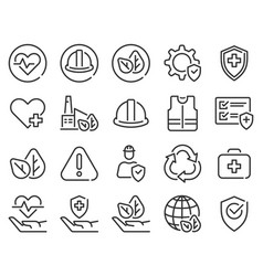 health safety environment icons occupational vector image