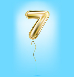 high quality image of gold balloon digit 7 seven vector image