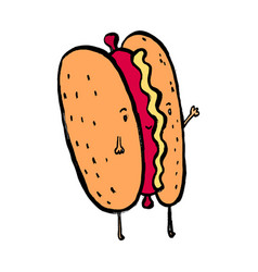 hotdog mascot and background hi pose with flat vector image