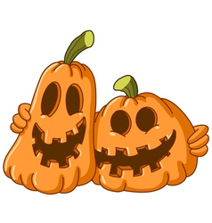 Hugging pumpkins vector