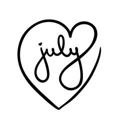 July logo word inside black heart love summer vector