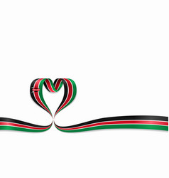 Kenyan flag heart-shaped ribbon vector