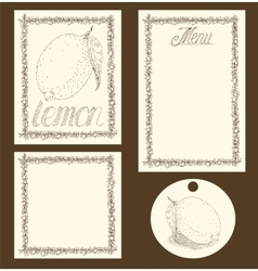Lemon Menu Pages Card and Tag Design Set vector image