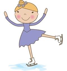 Little skater girl skating on ice vector image