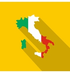 Map of italy in national flag colors icon vector