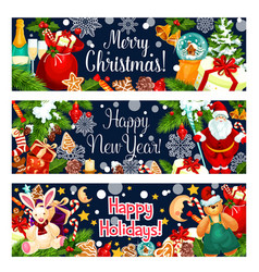 merry christmas greeting santa gifts banner vector image