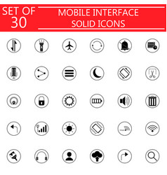 Mobile interface solid icon set vector