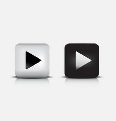 modern black white play button 3d vector image