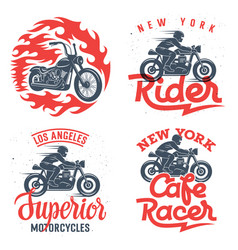 motorcycle prints set 001 vector image