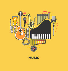 music themed emblem with instruments formed vector image