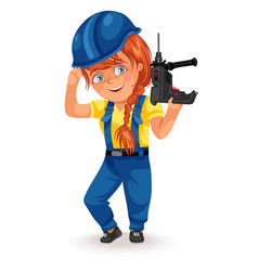 Not female professions strong woman builder in vector