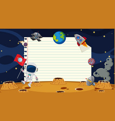 Paper template with space background vector