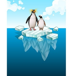 Penguins standing on thin ice vector
