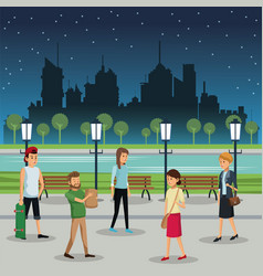 People walking night street urban background vector