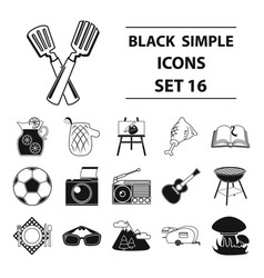Picnic set icons in black style big collection of vector