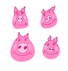 pig family in doodle style hand drawn pink piglet vector image