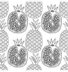 pineapples and pomegranates black and white vector image