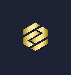 Polygon shape line company gold logo vector