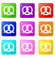 Pretzel icons 9 set vector