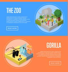 public zoo isometric 3d posters set vector image