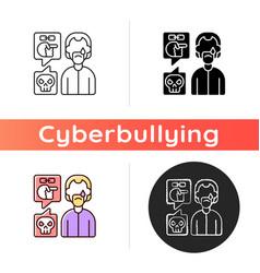 Racial cyberbullying icon vector