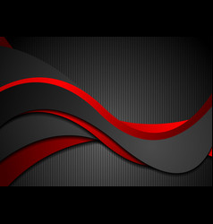 Red and black abstract waves on striped background vector