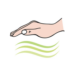 Reiki-hands-on healing showing hand sending vector
