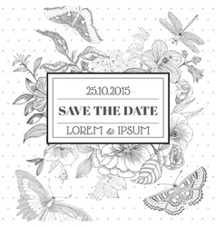 Save date - floral shabchic card vector