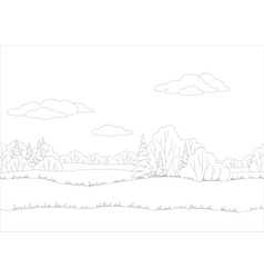 Seamless background woodland landscape contour vector image