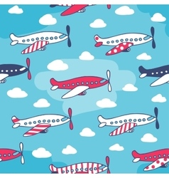Seamless pattern of cute airplanes vector