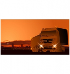 Semi truck at sunset vector