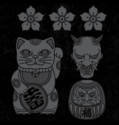 set japanese icon traditional tattoo vector image