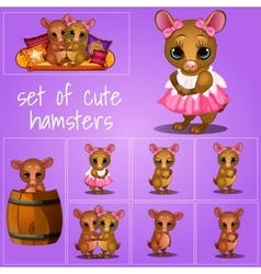 Set of adorable pups on a pink background vector image