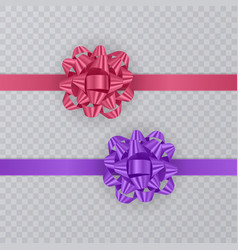 set of gift ribbons with realistic bow of pink and vector image