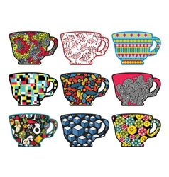 Set of tea cups with cool patterns vector image