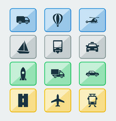 Shipment icons set collection of van airship vector
