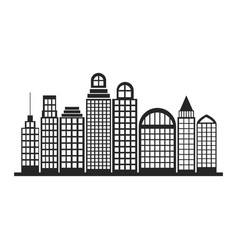 silhouette monochrome city landscape with vector image