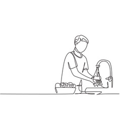 single continuous line drawing a man washes vector image