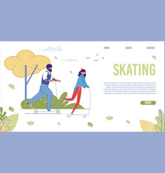 skating in park flat landing page template vector image