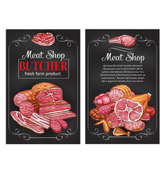 Sketch sausages and meat for butcher shop vector