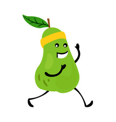 Sport running pear character funny fruit food on vector