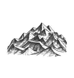 Summit of mountain landscape ink texture vector