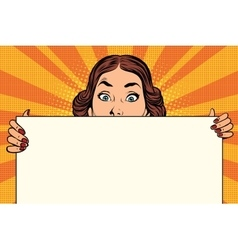 Surprised beautiful retro woman long Billboard vector image