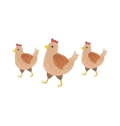 Three Brown Chickens Wakling vector image
