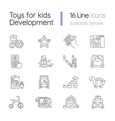 toys for kids development pixel perfect linear vector image