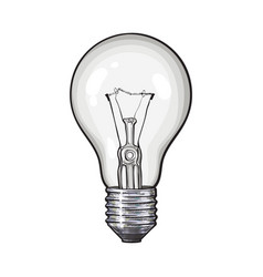 Traditional transparent tungsten light bulb side vector