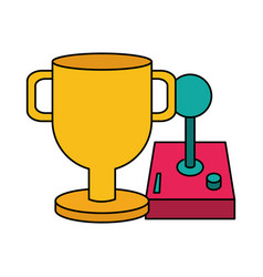 Trophy and joystick video game vector