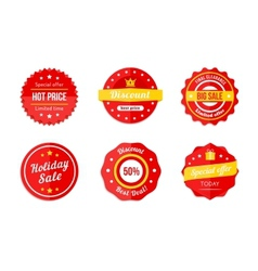 Various Red Discount Sale Tag Icons vector image