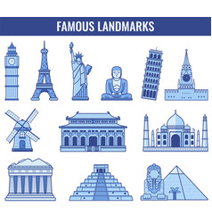 world landmarks travel and tourism vector image